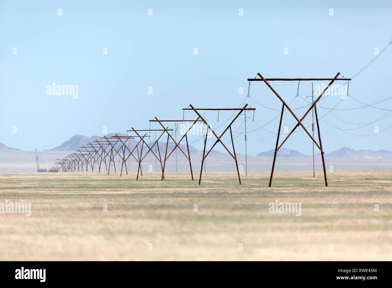 Endless power lines in the south of Namibia. - Stock Image