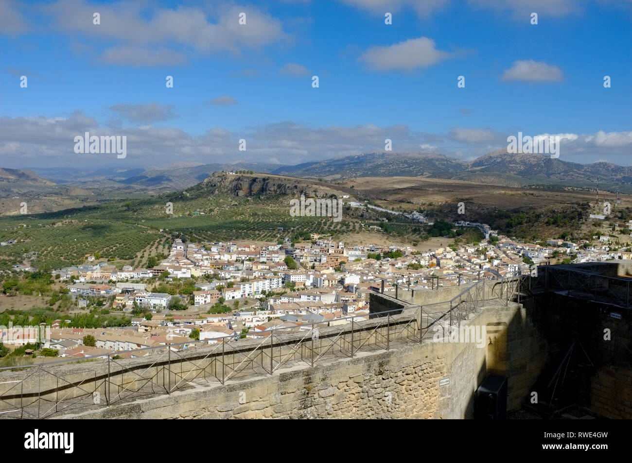 View of Alcala la Real town and surrounding landscape from the walls of the hilltop, historic castle/fortress. Jaen Province, Andalusia, Spain - Stock Image