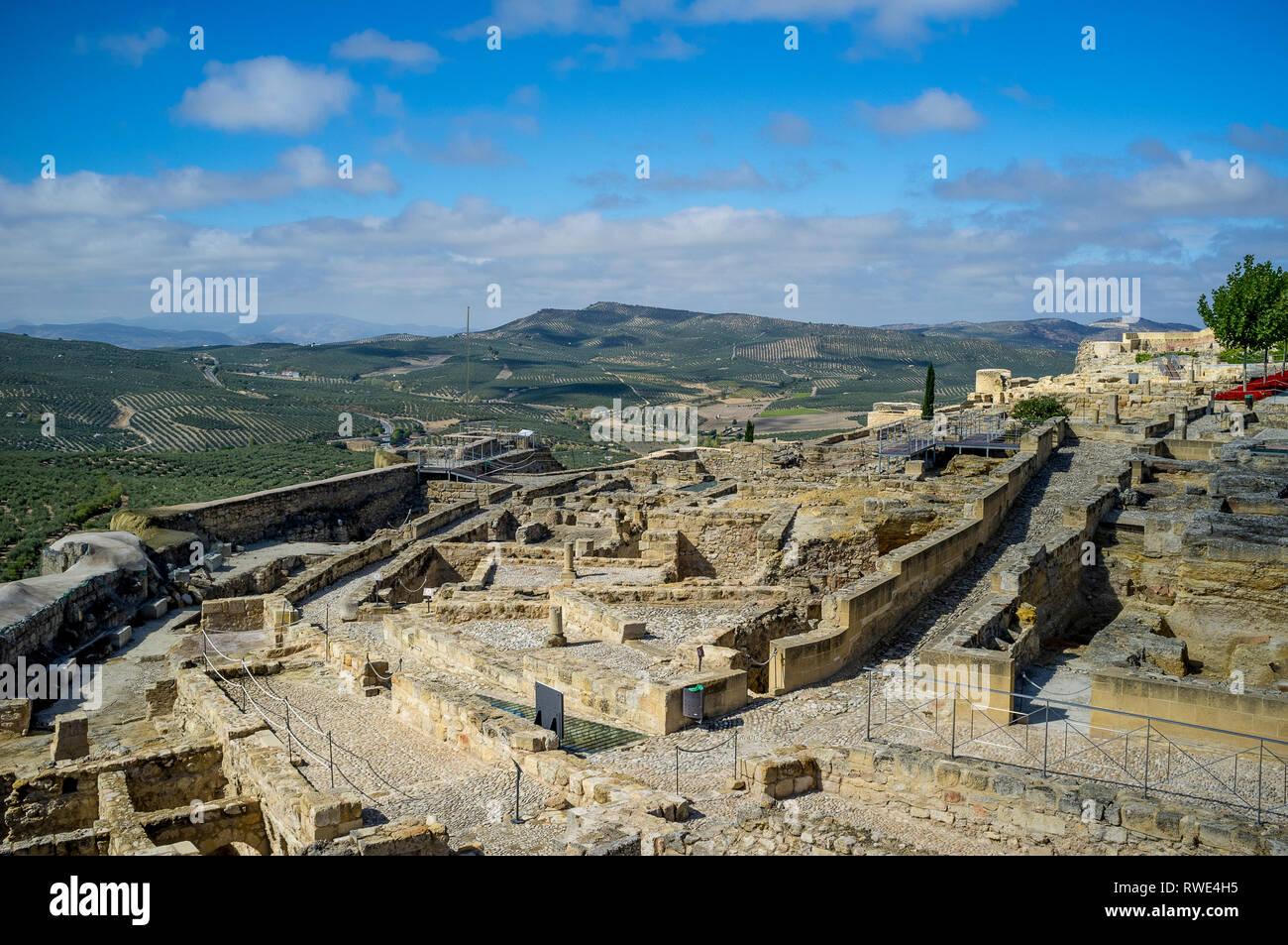 Current excavations and restoration at hilltop Alcala la Real Castle - Fortaleza de la Mota - and landscape in Jaen Province, Andalusia, Spain - Stock Image