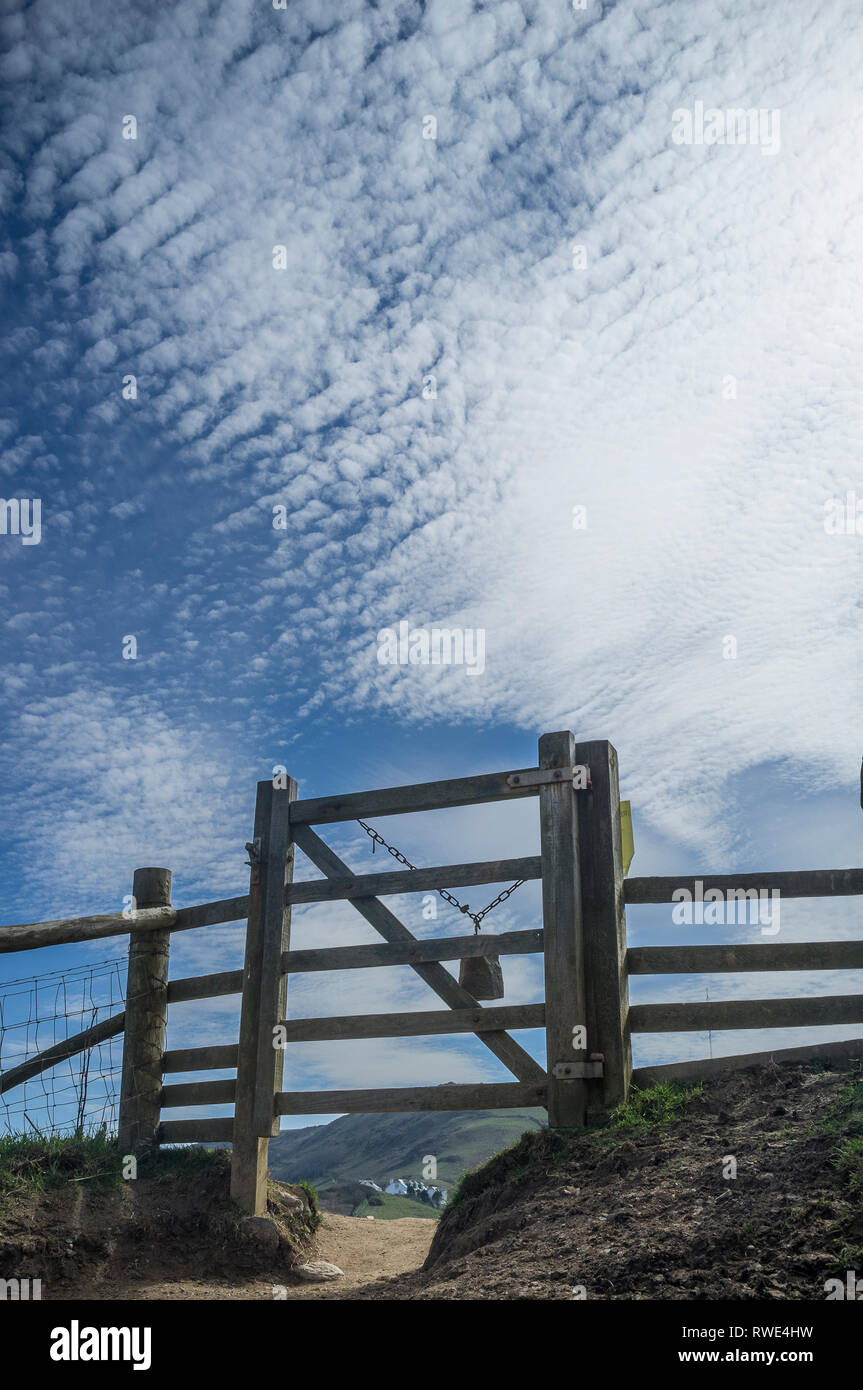 Dramatic view of cirrocumulus clouds in a blue sky and 5-bar gate on the coastpath from Beesands to Start Point, an AONB in South Devon, UK. - Stock Image