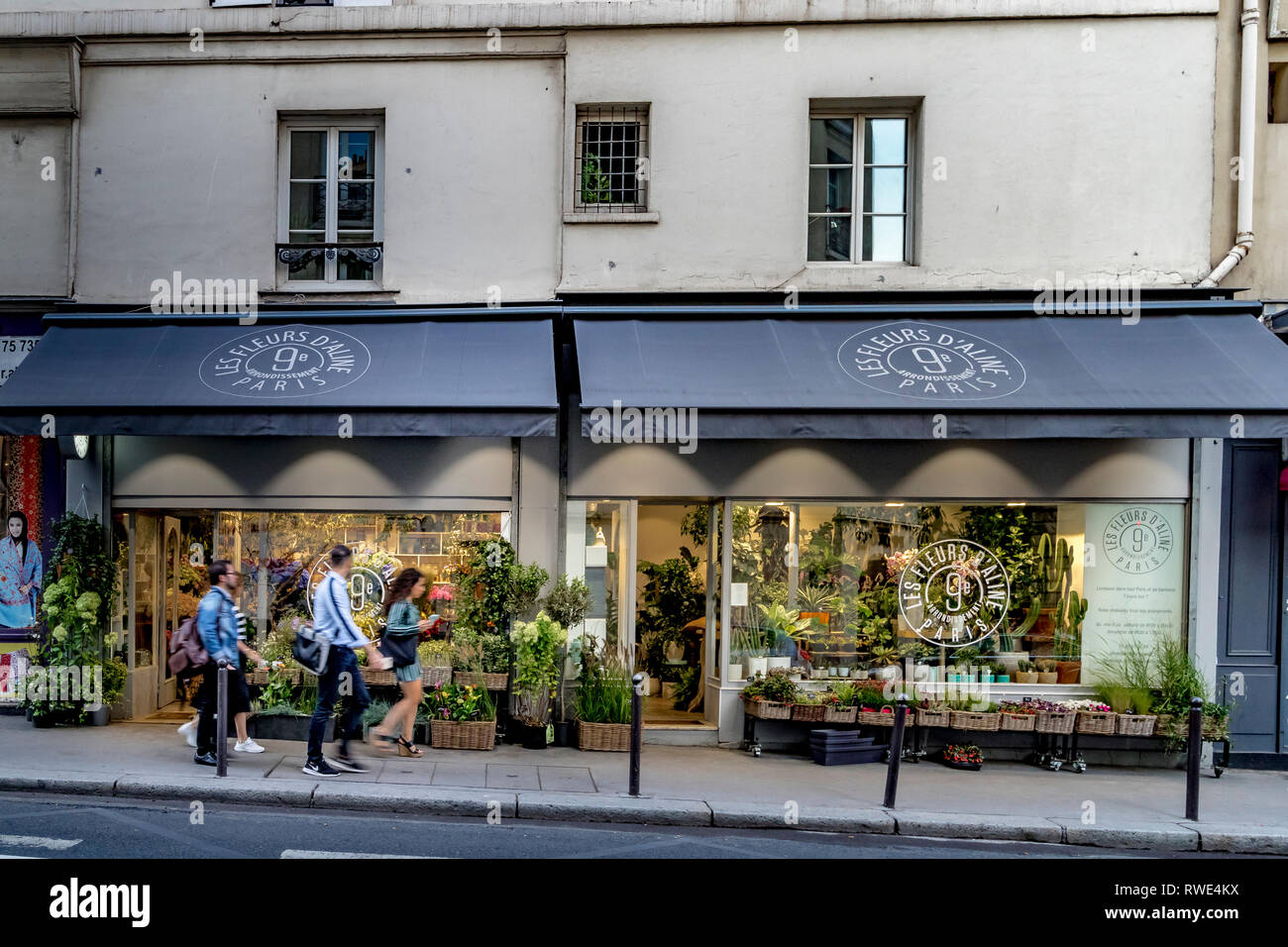 Les Fleurs d'Aline A florist shop on  Rue Notre Dame de Lorette in The St Georges ,9th arrondissement area of Paris Stock Photo