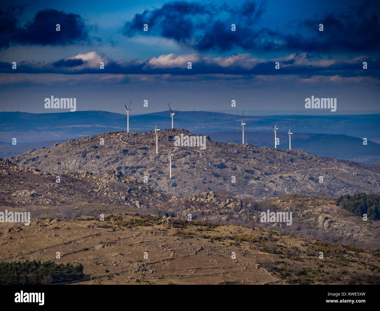 Mountain landscape with wind turbines in Salamanca. Concept of renewable energy Stock Photo