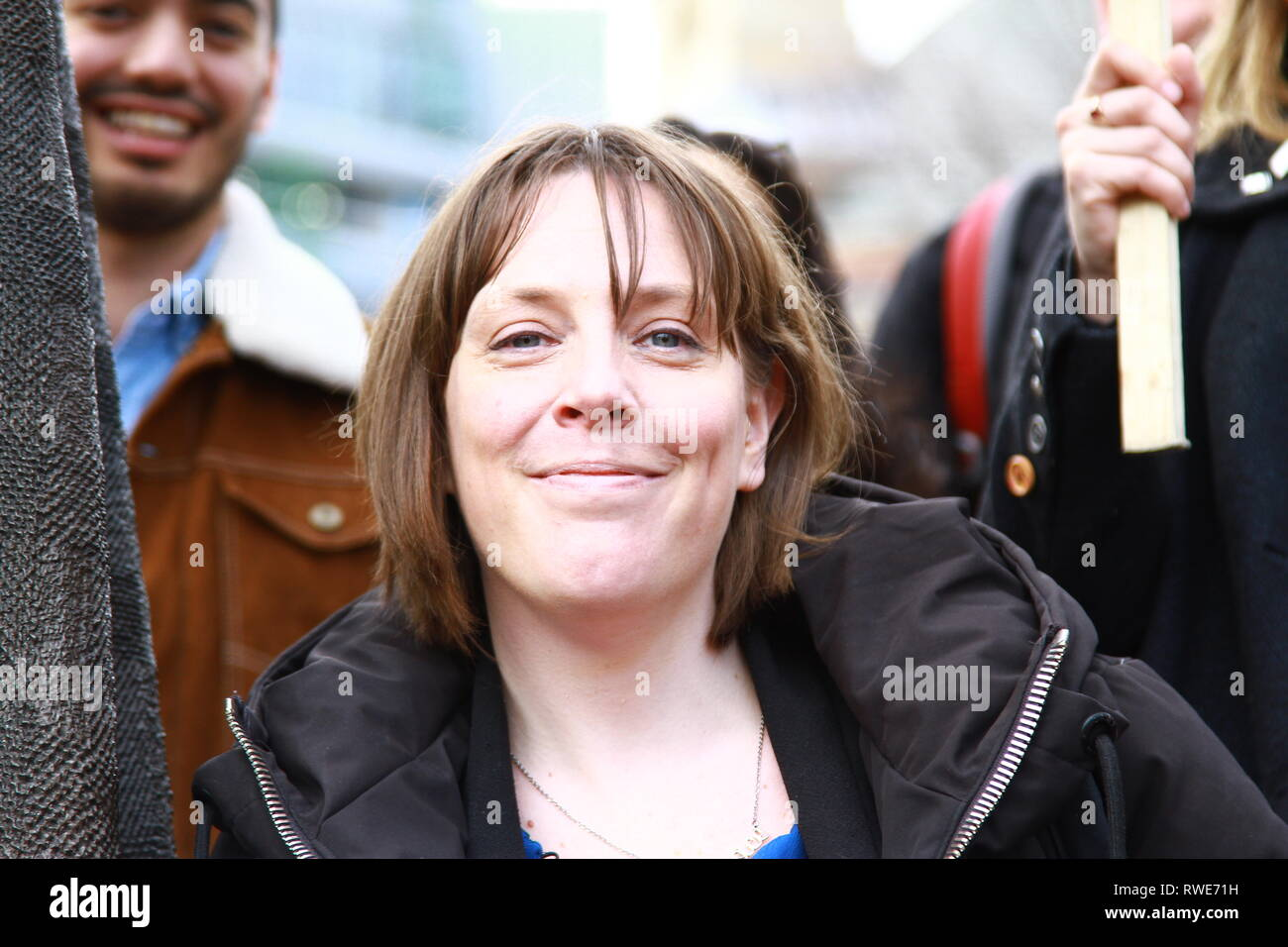 Jess Phillips member of parliament for Birmingham Yardley pictured in Parliament Square, Westminster, London, UK  whilst attending a gathering of various organisations for women's rights on 5th March 2019. Harassment in the work place. Muslim women's network UK. Labour party MPS. British politicians. UK Politics. UK politicians. - Stock Image