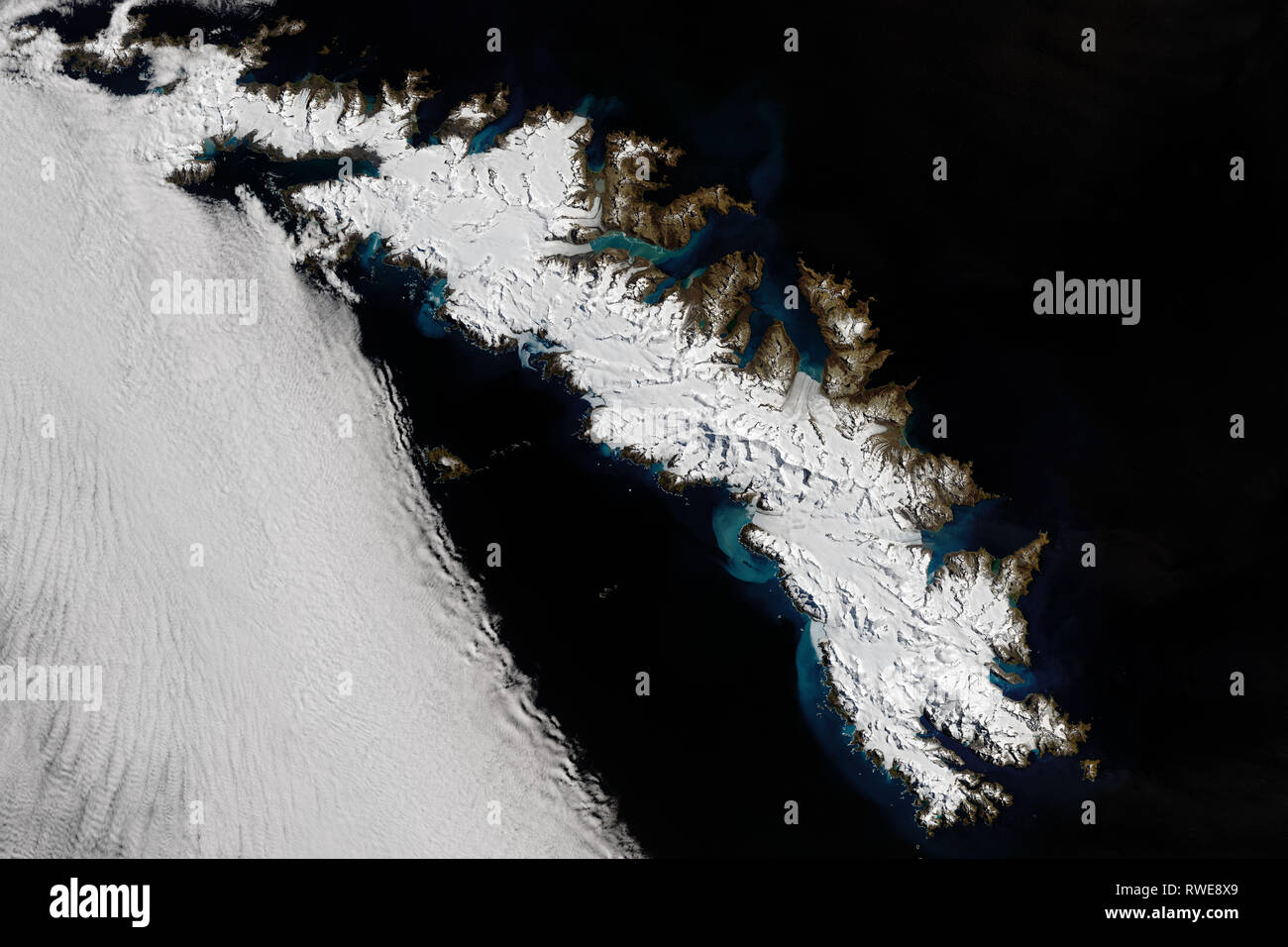 Aerial of South Georgia Island - Stock Image