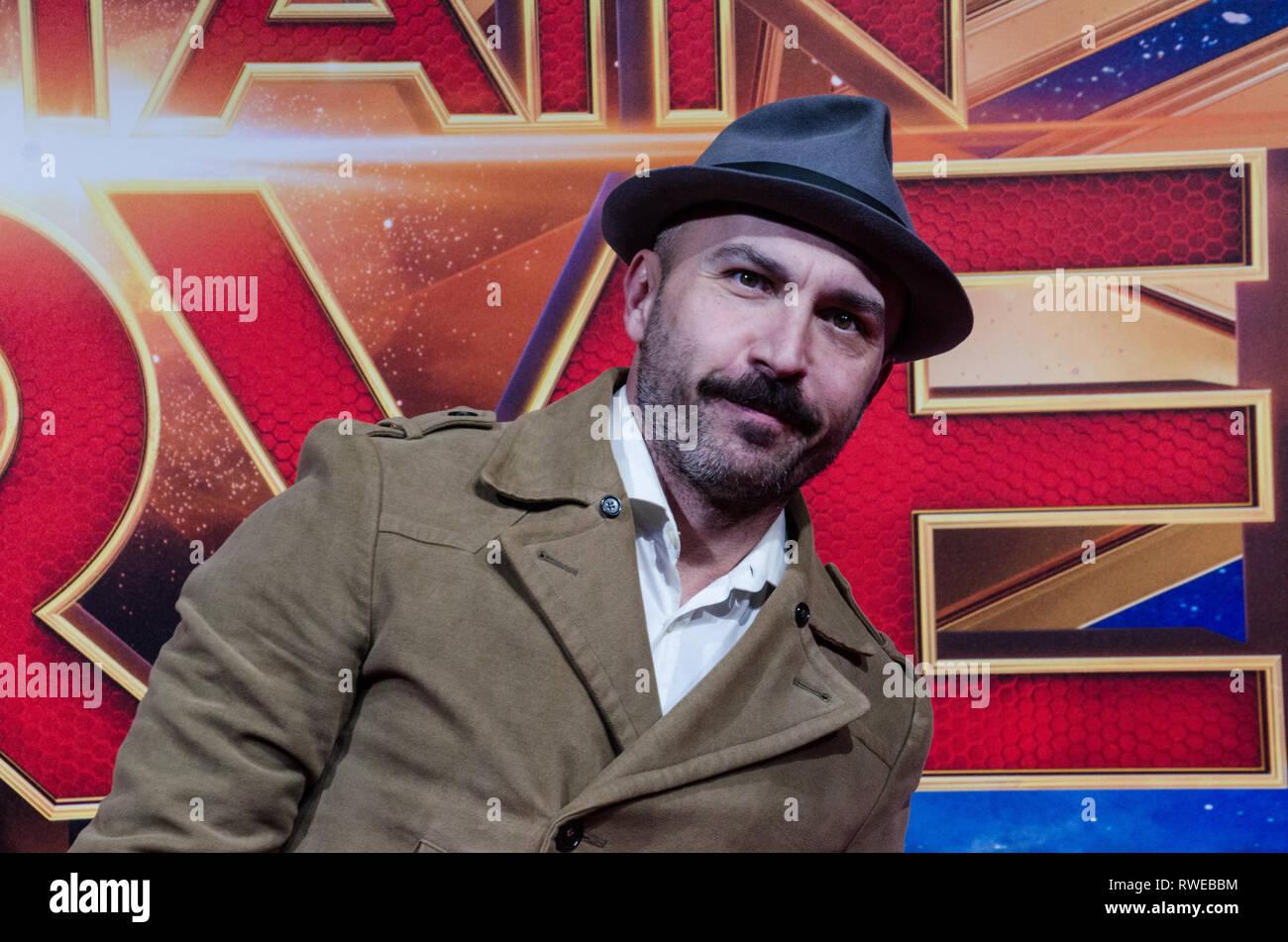 Italian actor and director Maccio Capatonda aka  Marcello Macchia at Captain Marvel premiere red carpet, at Fabrique. Milano, March 5th, 2019 - Stock Image