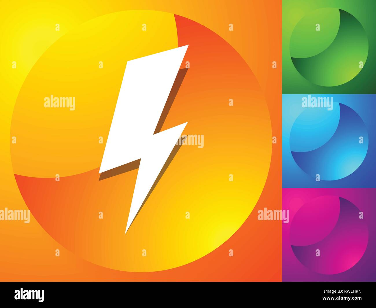 Icon with spark lighting bolt symbol for electrical themes stock