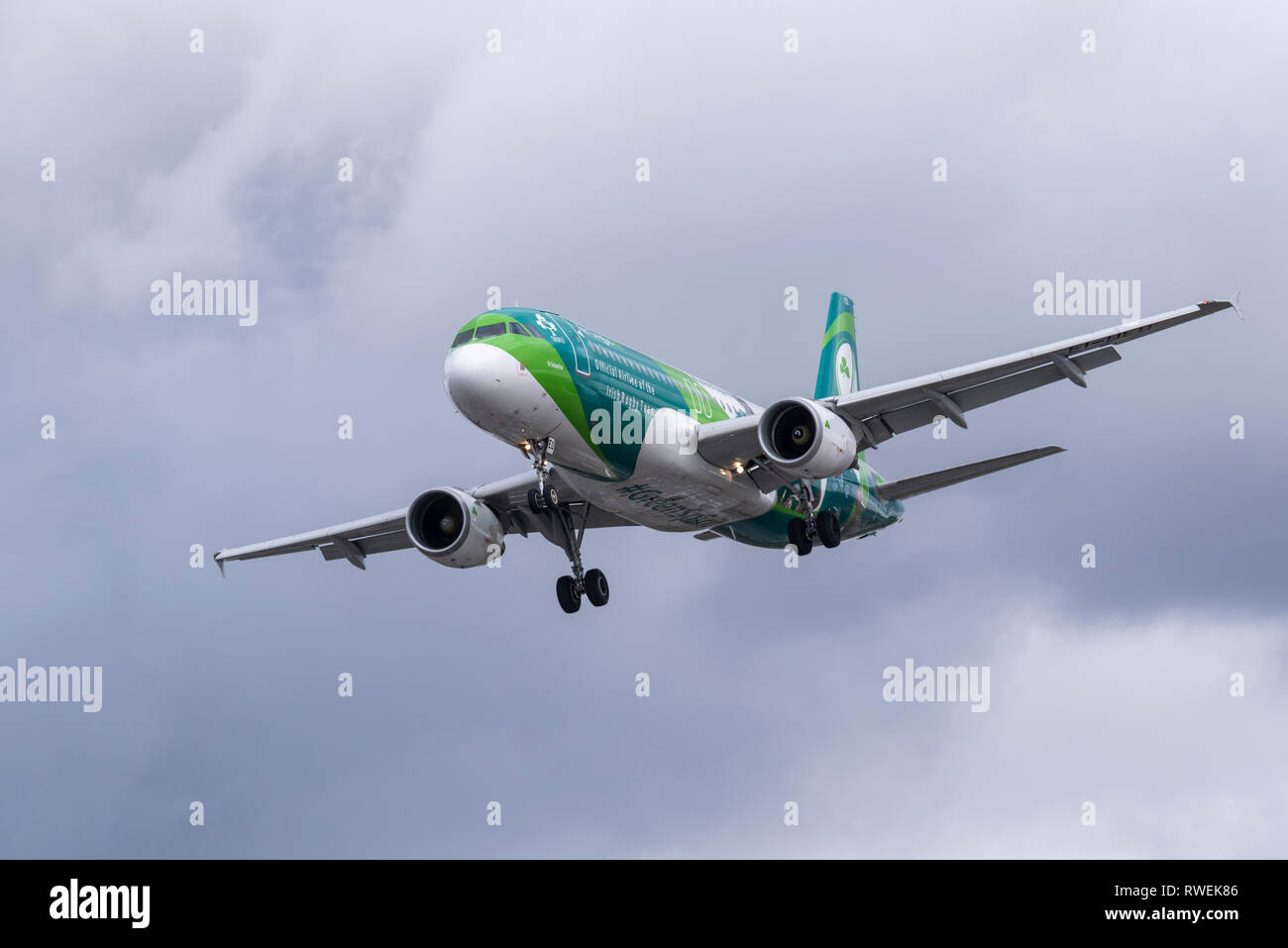 Aer Lingus Airbus A320 jet plane airliner EI-DEO landing at