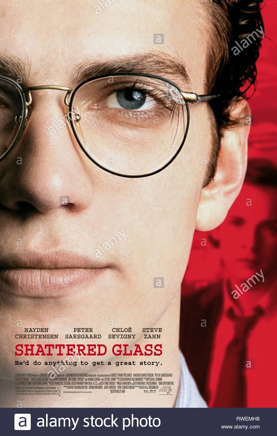 HAYDEN CHRISTENSEN FILM POSTER, SHATTERED GLASS, 2003 - Stock Image