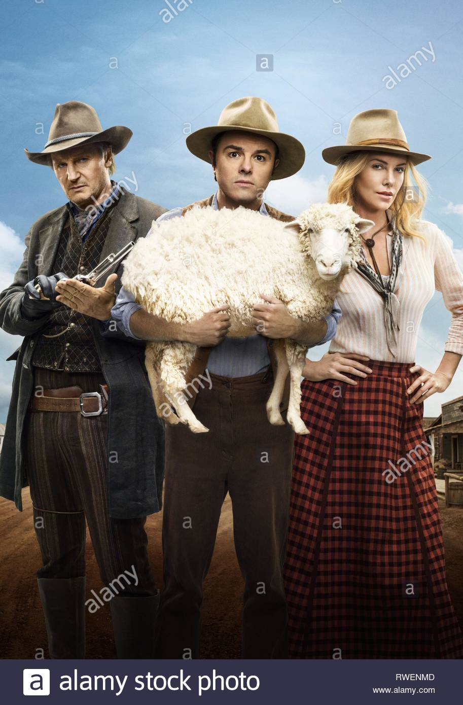 NEESON,MACFARLANE,THERON, A MILLION WAYS TO DIE IN THE WEST, 2014 - Stock Image