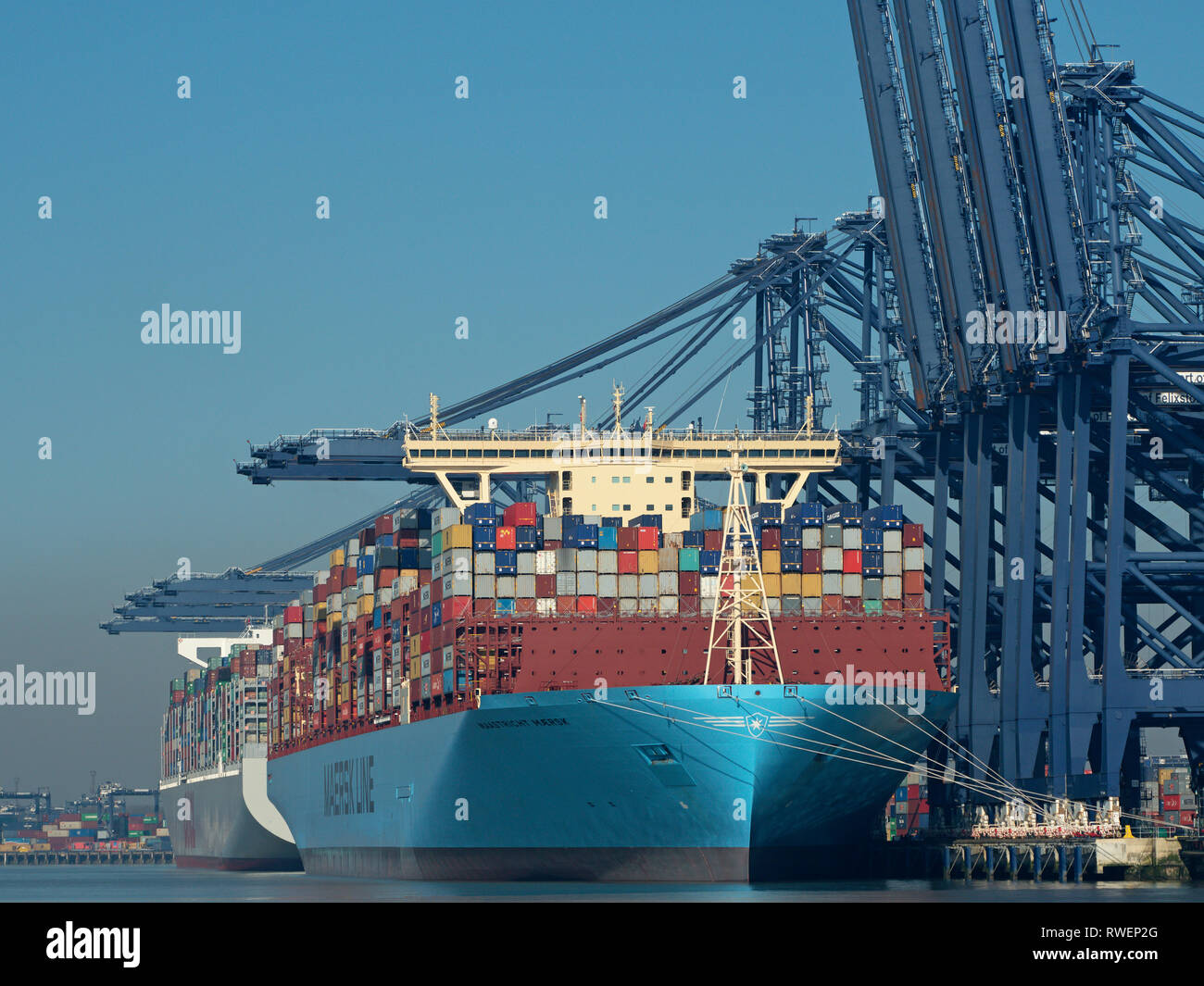 Mega container ships alongside 'Port Of Felixstowe' 'River Orwell ' Suffolk,  England, United Kingdom - Stock Image