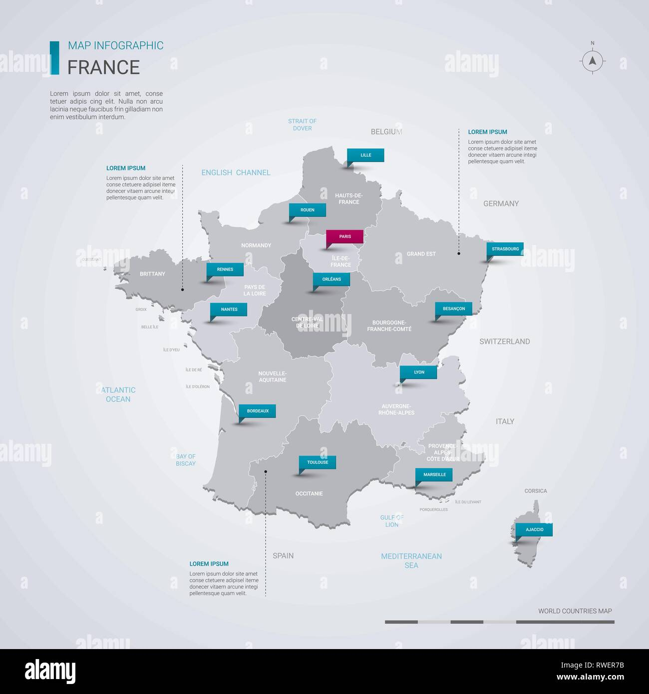 Map Of France Regions With Cities.France Vector Map With Infographic Elements Pointer Marks Editable