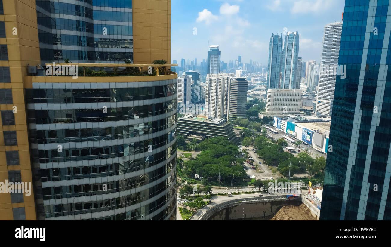 Pasig Skyscraper and Skyline View, Metro Manila - Philippines - Stock Image