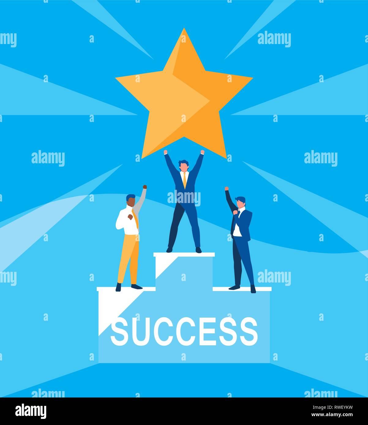 successful businessmen celebrating with star vector illustration design - Stock Vector