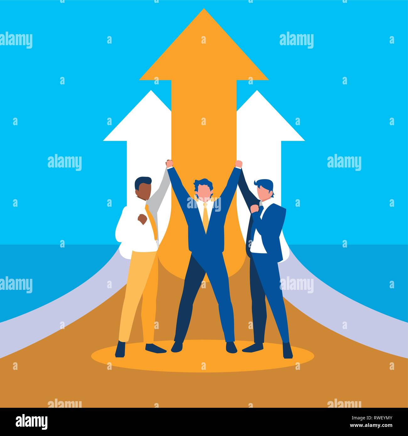 successful businessmen celebrating with arrows up vector illustration design - Stock Vector