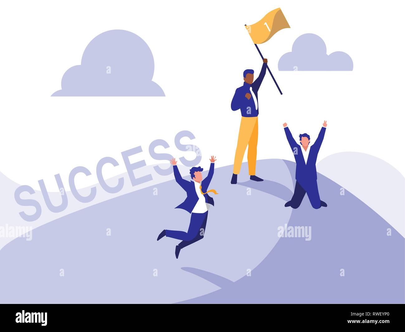successful businessmen celebrating with winner flag vector illustration design - Stock Vector