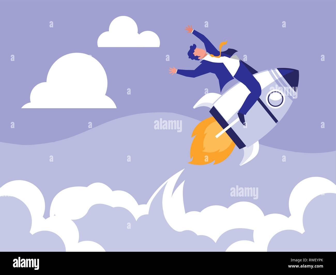successful businessman celebrating in rocket vector illustration design - Stock Vector