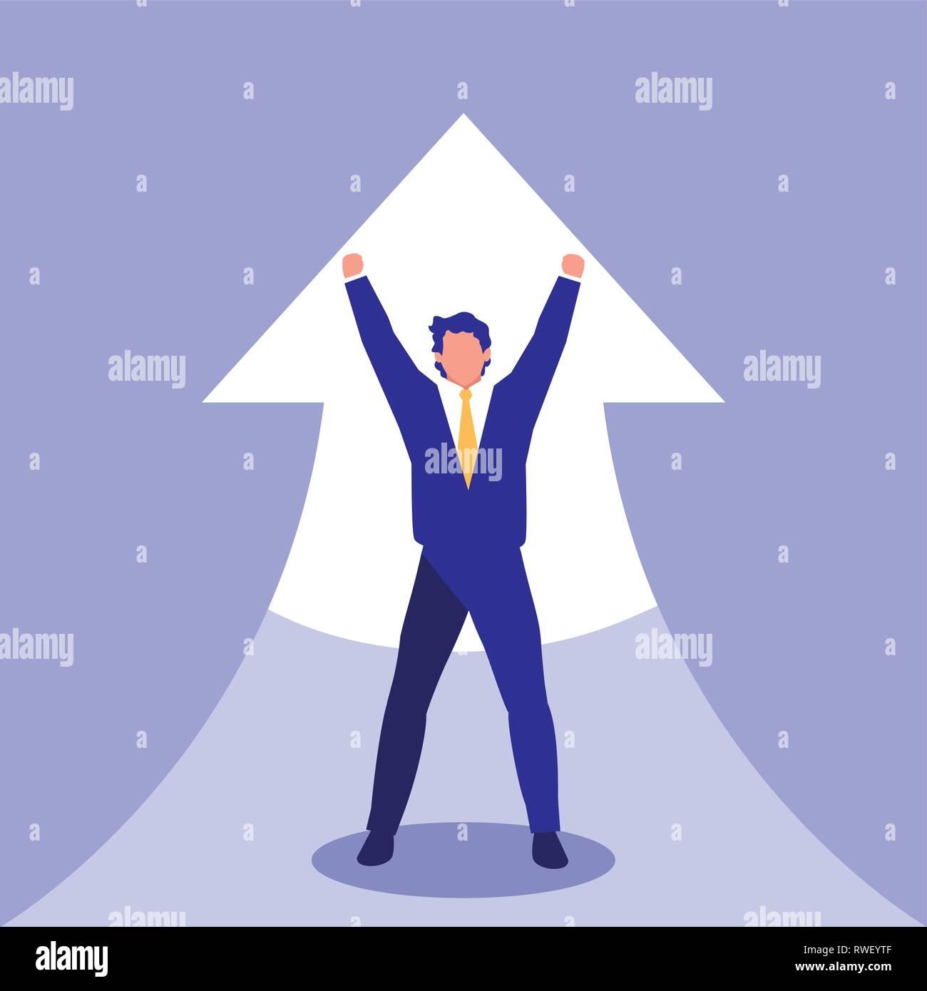 successful businessman celebrating with arrow up vector illustration design - Stock Vector