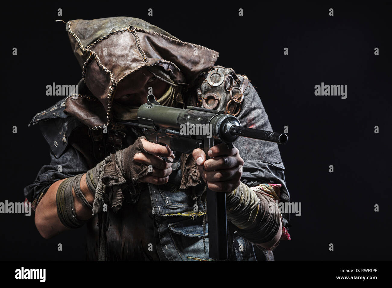 survivor with homemade weapons - Stock Image