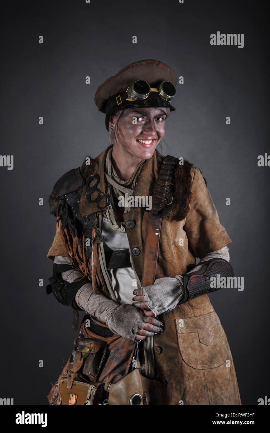 Post apocalypse female survivor. - Stock Image