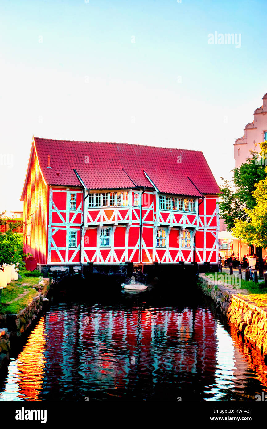 Old red timbered house in Wismar. Mecklenburg-Vorpommern, Germany - Stock Image