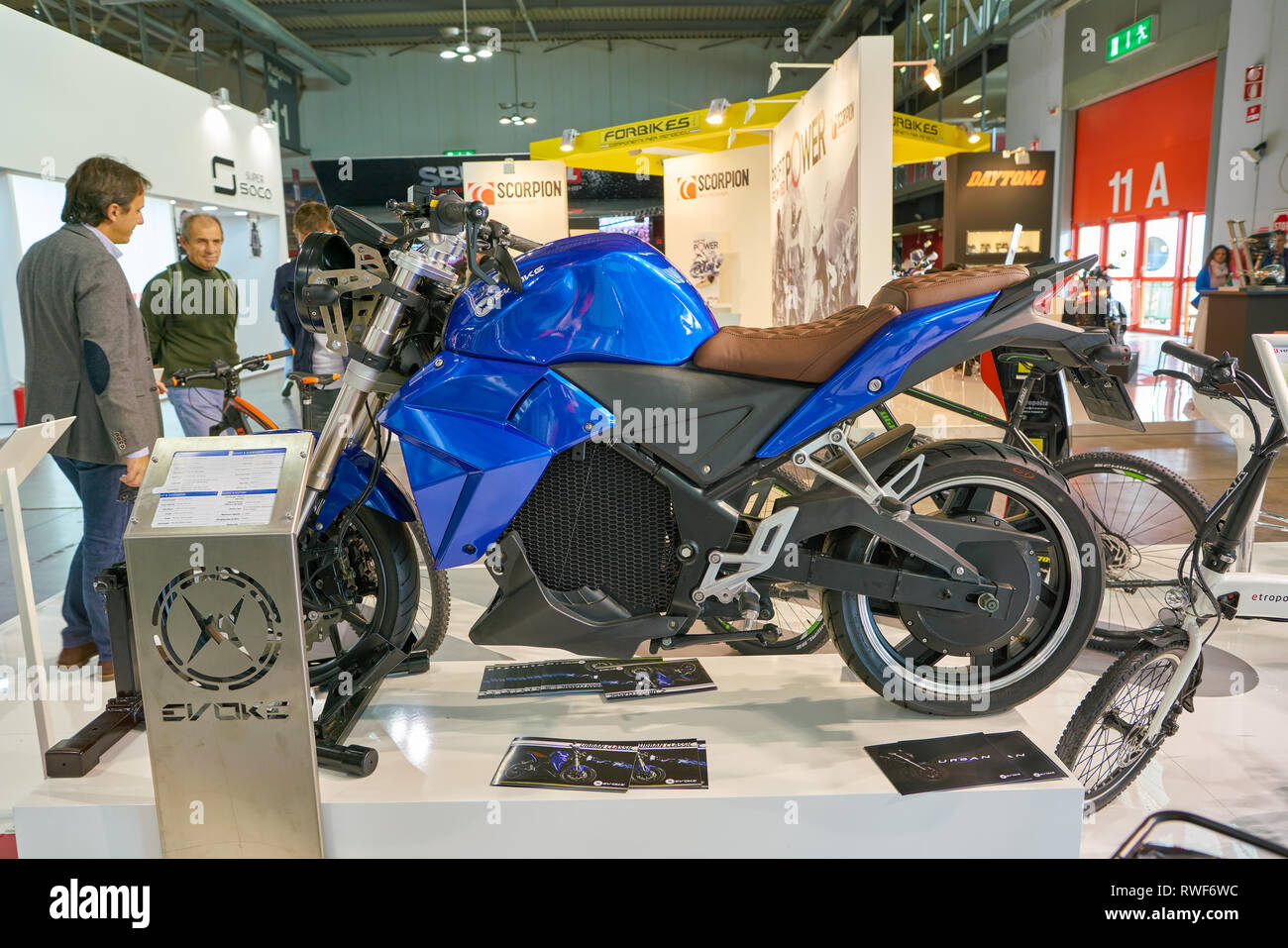 MILAN, ITALY - NOVEMBER 11, 2017: Evoke Motorcycle on display at EICMA 2017 - 75th International Motorcycle Exhibition - Stock Image