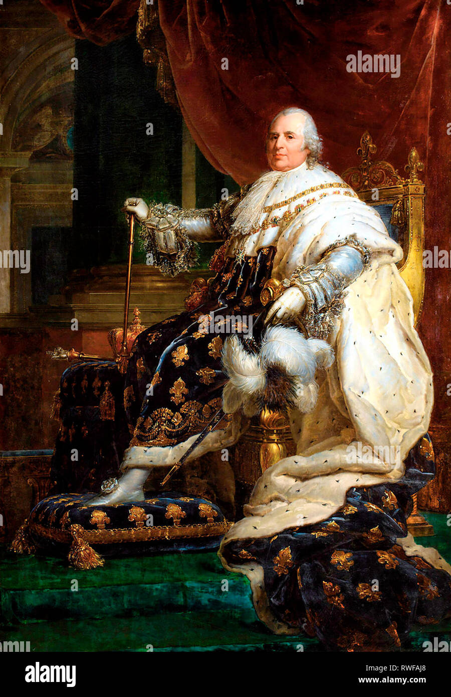 Louis XVIII of France in Coronation Robes - Francois Gerard - Stock Image