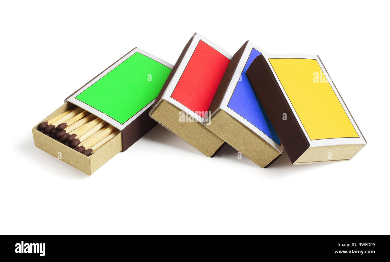 Four Colourful Match Boxes on White Background - Stock Image