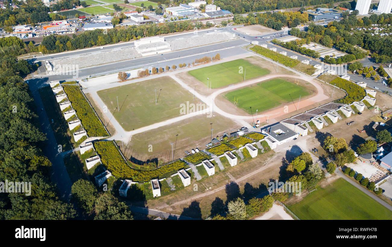 Zeppelinfeld,  Nazi party rally grounds or Reichsparteitagsgelände, Nuremberg, Germany - Stock Image