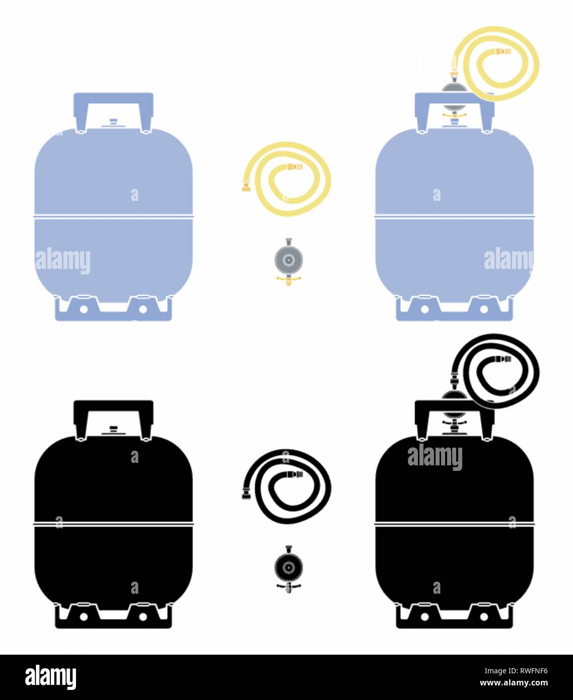Gas bottle. Without outline and black fill. Stock Vector