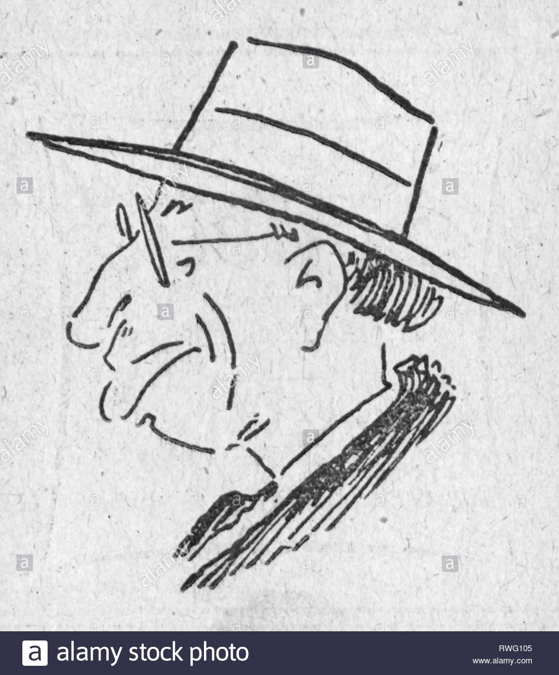 Celio, Enrico, 19.6.1889 - 23.2.1980, Swiss politician, portrait, caricature, drawing, 1948, Artist's Copyright must also be cleared - Stock Image
