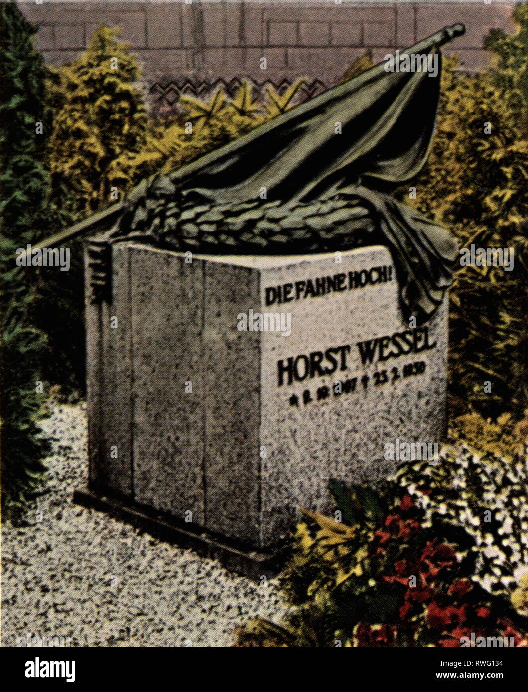 Wessel, Horst, 9.10.1907 - 23.2 1930, martyr of the NSDAP, his grave, old cemetery, Saint Nikolai, Berlin, 1930s, coloured photograph, cigarette card, series 'Die Nachkriegszeit', 1935, Additional-Rights-Clearance-Info-Not-Available - Stock Image