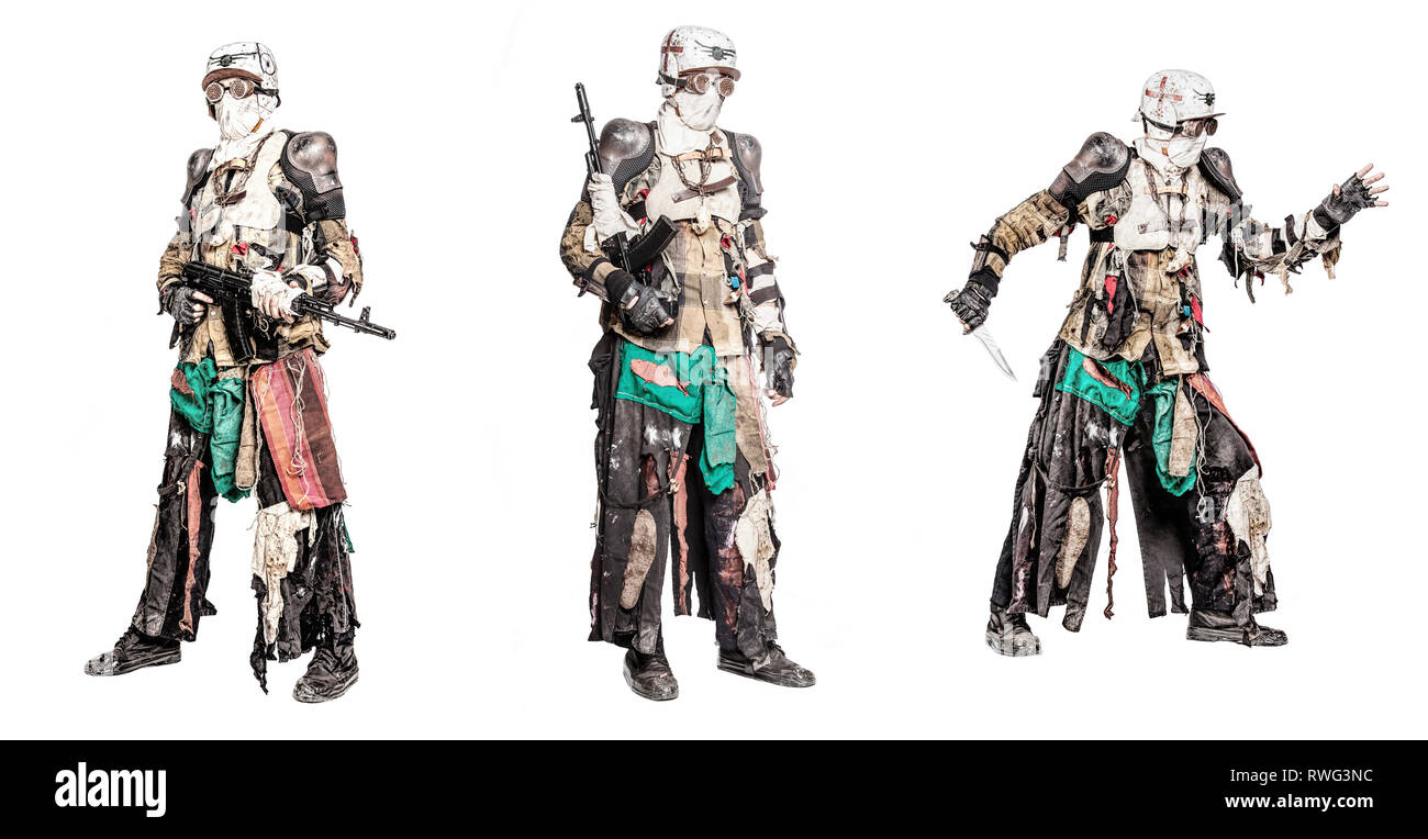 Set of post apocalyptic survivor creature with homemade weapons. - Stock Image