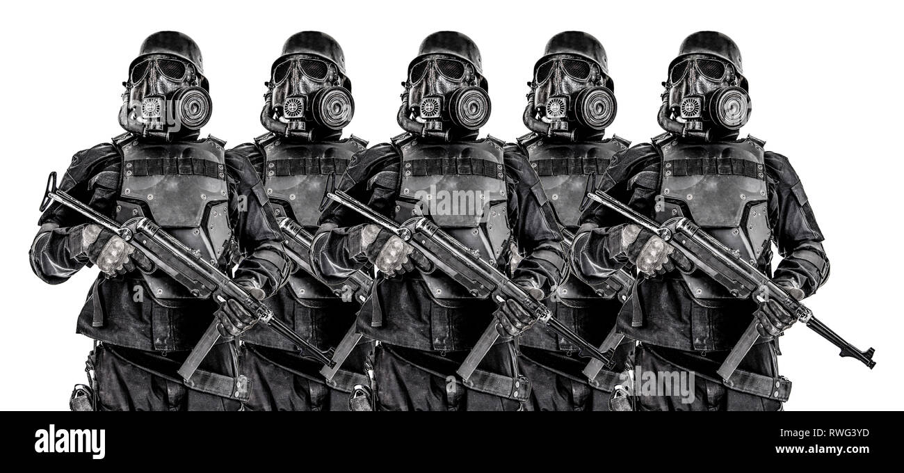Line of futuristic Nazi soldiers with submachine guns. - Stock Image