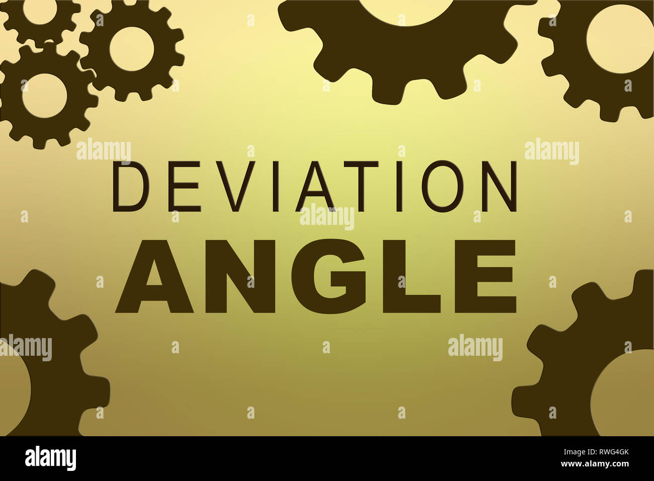 DEVIATION ANGLE sign concept illustration with green gear wheel figures on yellow background - Stock Image