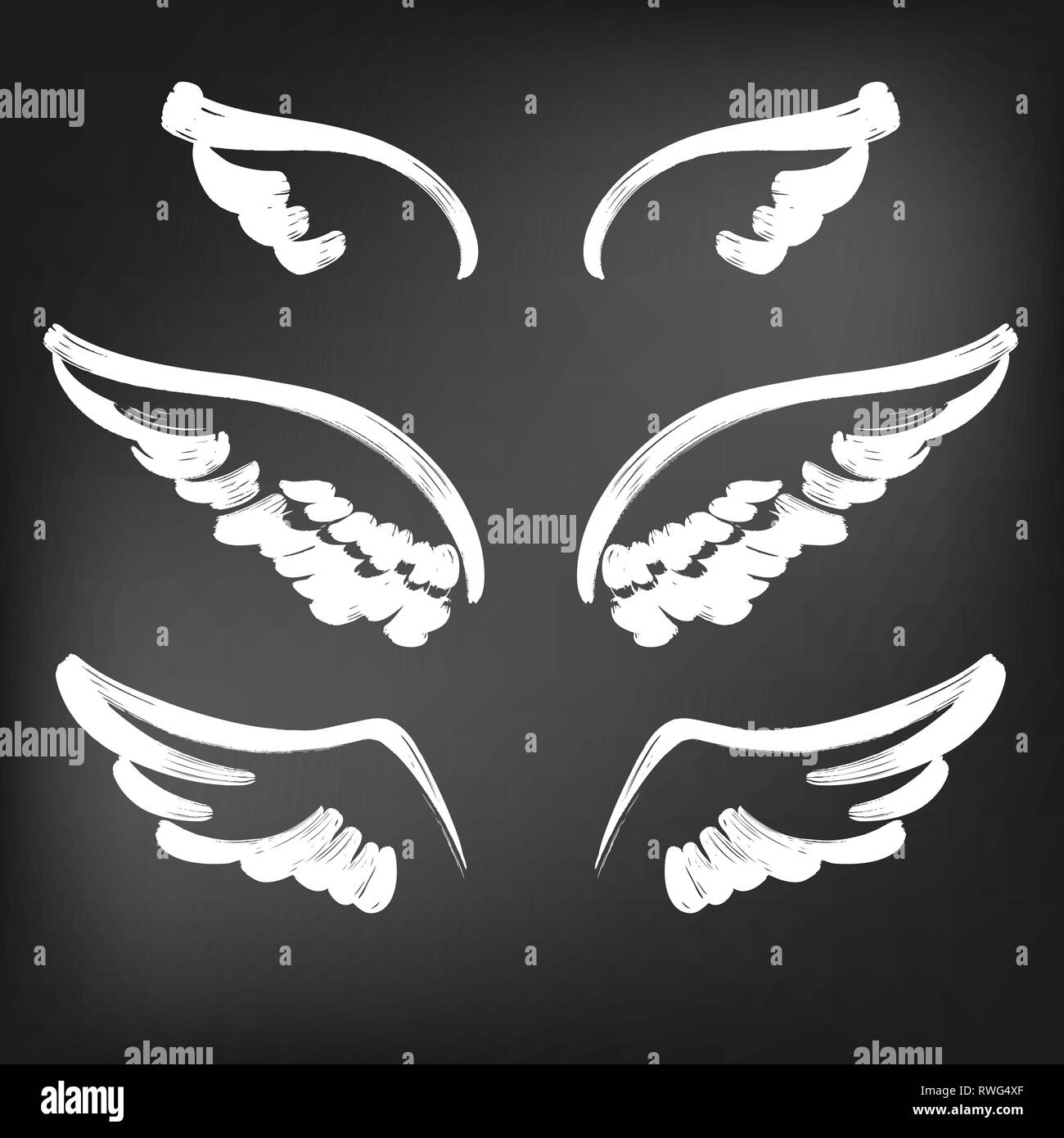 c5aeb600b Angel wings icon sketch collection, abstract wings sketch set icon  collection cartoonhand drawn vector illustration sketch, drawn in chalk on  a black