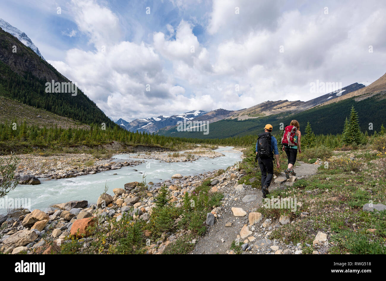 A man and woman hike the trail back from Snowbird pass, along the Robson river, Mt. Robson Provincial Park, British Columbia, Thompson Okanagan region - Stock Image