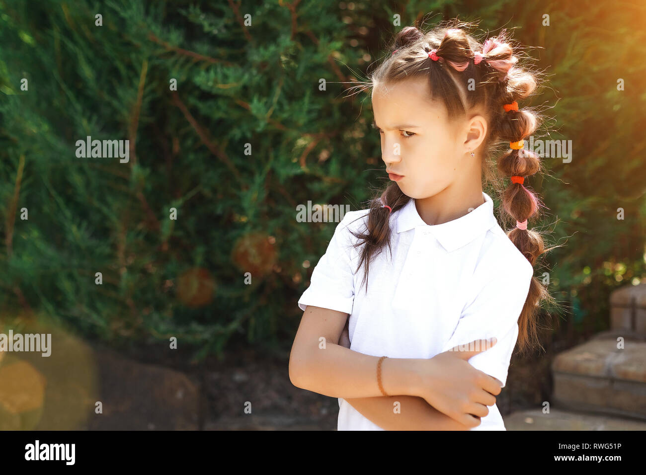 angry child girl - Stock Image