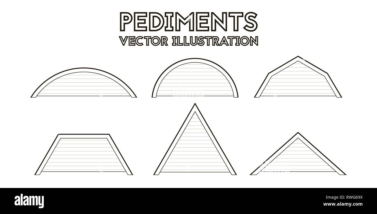 Set of icons of the pediments. Vector illustration. Architectural drawing. - Stock Vector