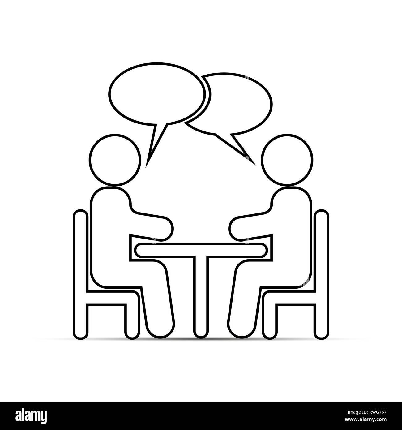 Two people sitting at a table and talking. Outline drawing. Stock Vector