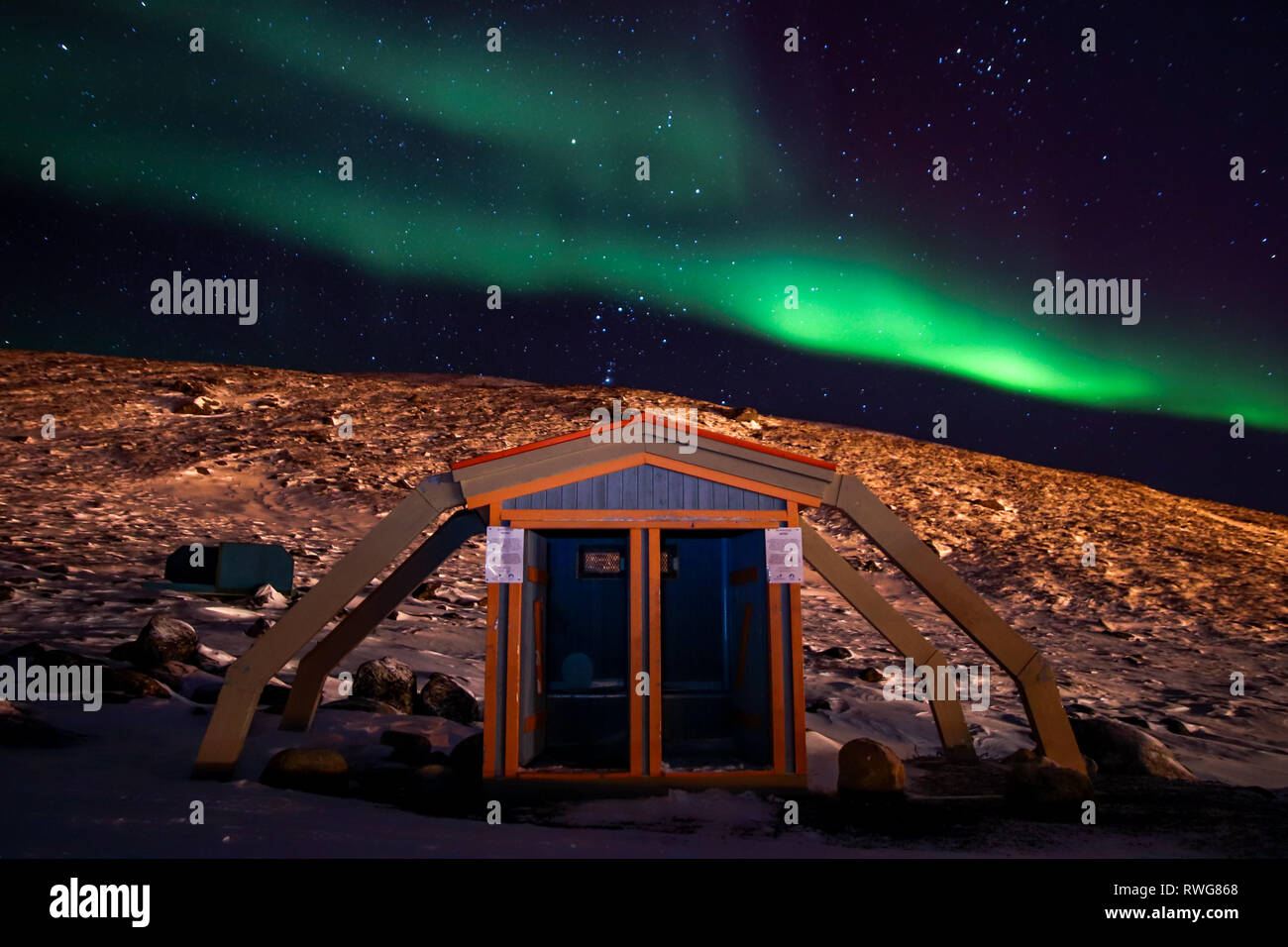 Beautiful outdoor toilets in the Canadian Arctic - Stock Image