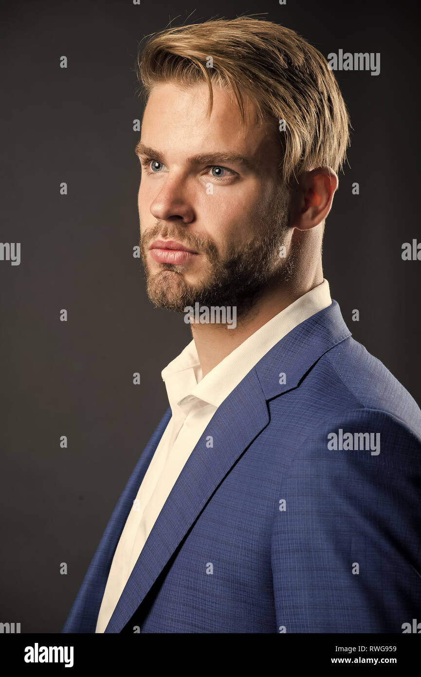 Fashion style for men. Man in formal wear. Confident businessman. Face of plenary leadership, business. Taking life seriously. Confidence and charisma. - Stock Image