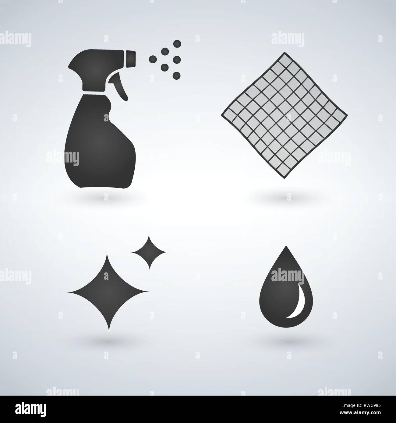 Cleaning icons in set collection for design. Equipment for cleaning vector web illustration - Stock Vector