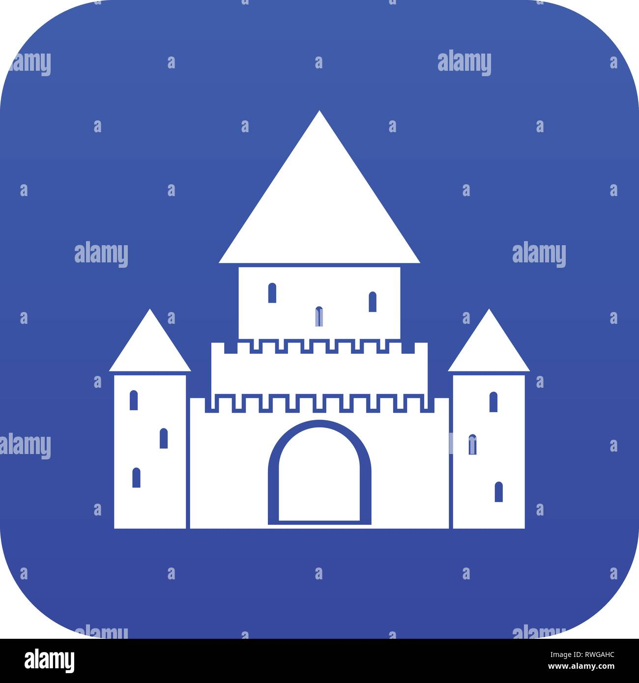 Chillon Castle, Switzerland icon digital blue - Stock Vector