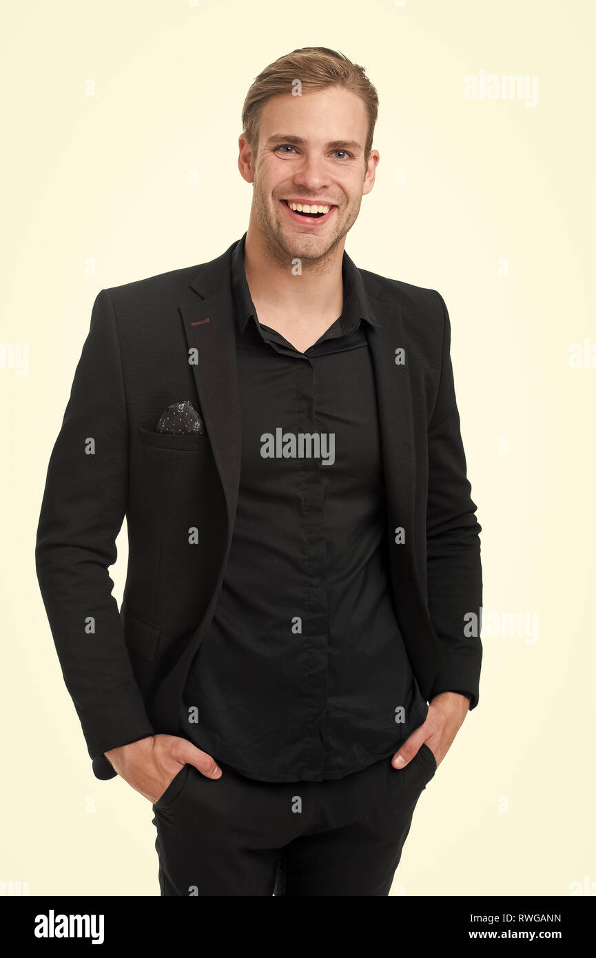 6286c1e0af1 Business dress code. Man happy formal black suit white background. Business  casual. Casual
