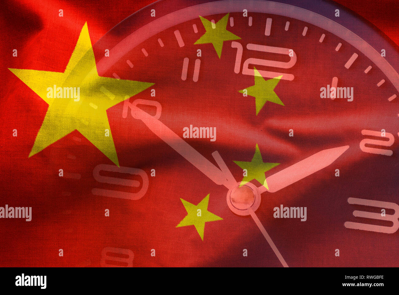 Composite overlay of the Chinese flag and a clock dial depicting the time, a countdown or deadline in a full frame background - Stock Image