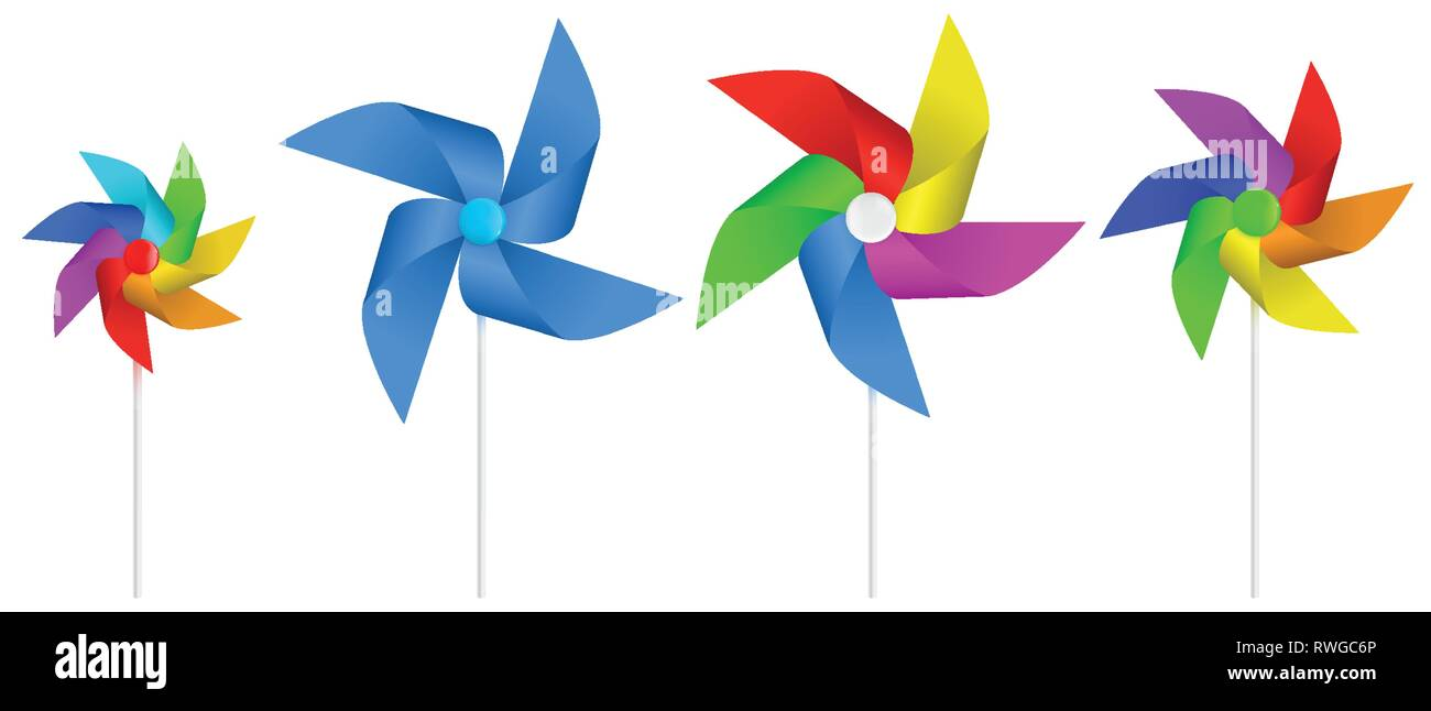 Color pinwheel. Multi colored toy paper windmill propeller. Pinwheel with blades of different colors. Vector illustration - Stock Vector
