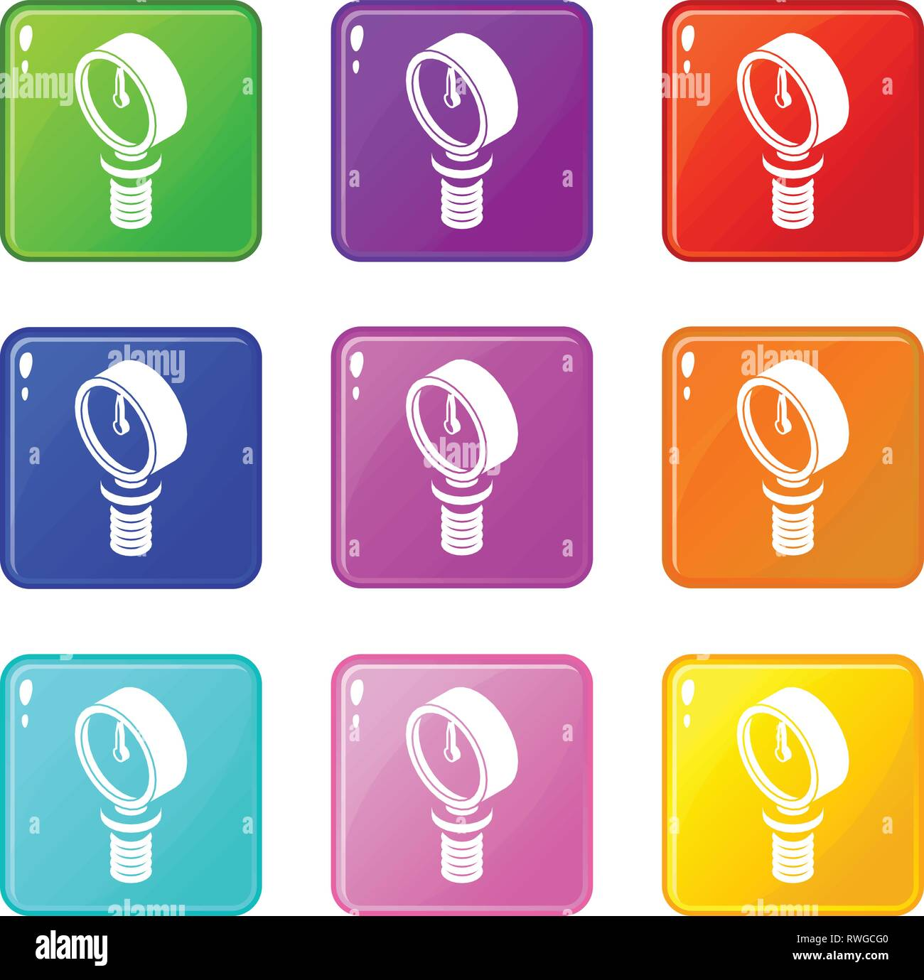 Pressure meter icons set 9 color collection - Stock Vector