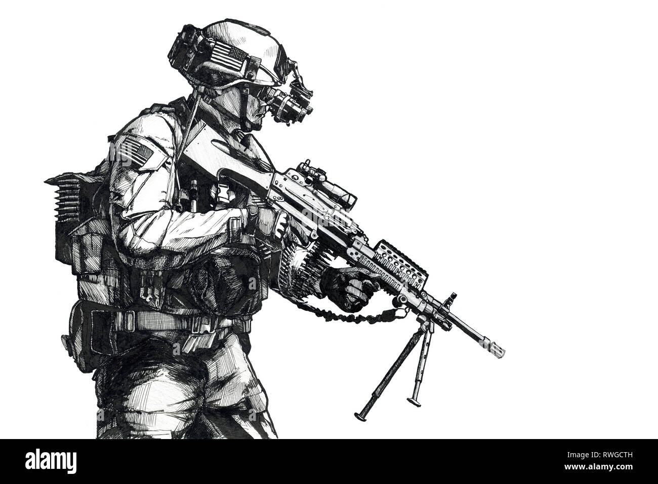 Hand drawn image of a U.S. Army Ranger with machine gun and night vision goggles. - Stock Image