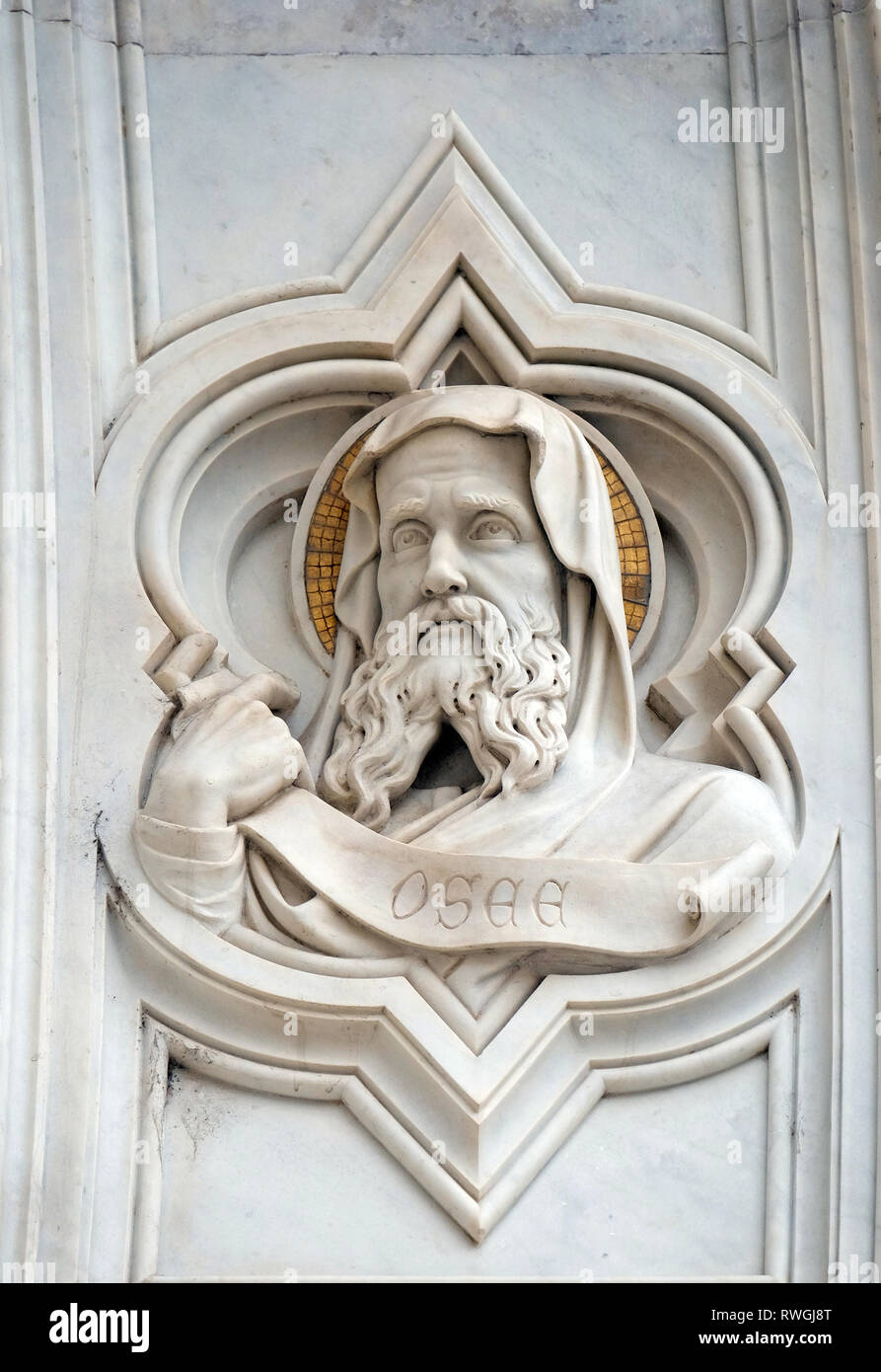 Hosea, relief on the facade of Basilica of Santa Croce (Basilica of the Holy Cross) - famous Franciscan church in Florence, Italy - Stock Image