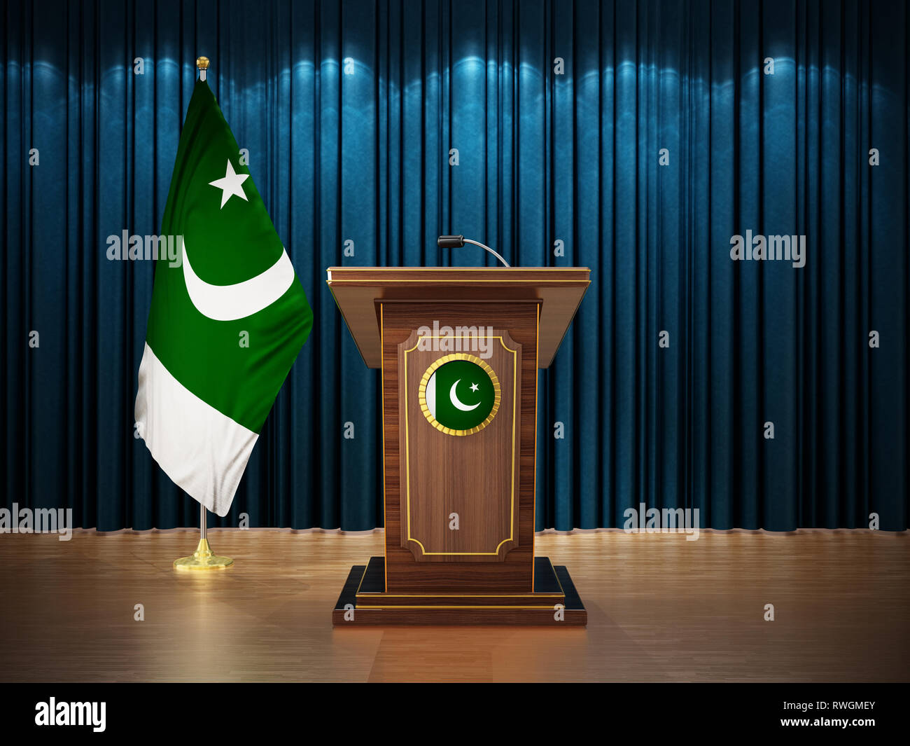 Press conference with flags of Pakistan and lectern against the blue curtain. 3D illustration. - Stock Image